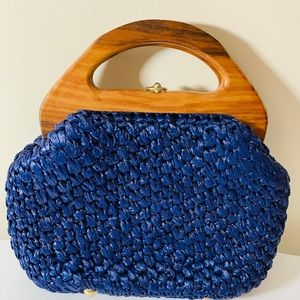 Handbags - Navy Blue Woven Clutch w/ Wooden Handles